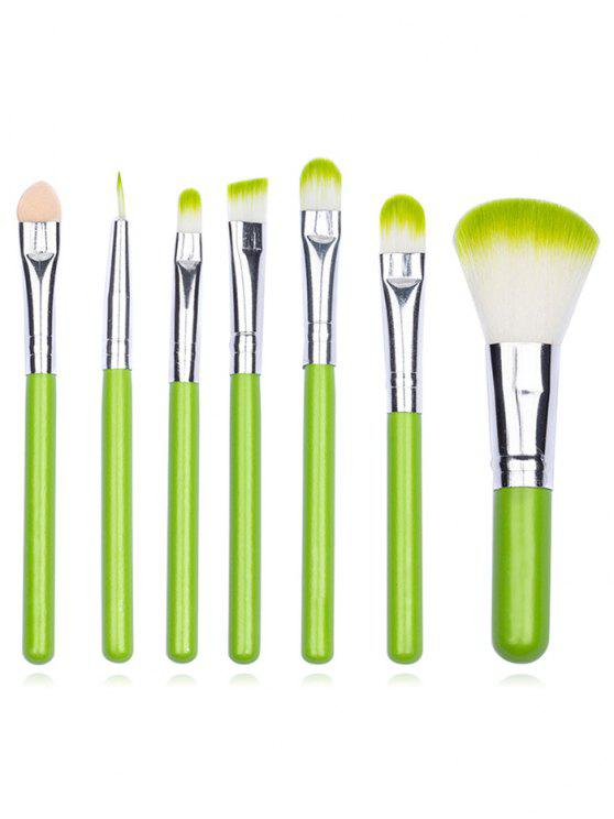lady Portable 7Pcs Ultra Soft Eyeshadow Blending Powder Brush Set - YELLOW GREEN REGULAR