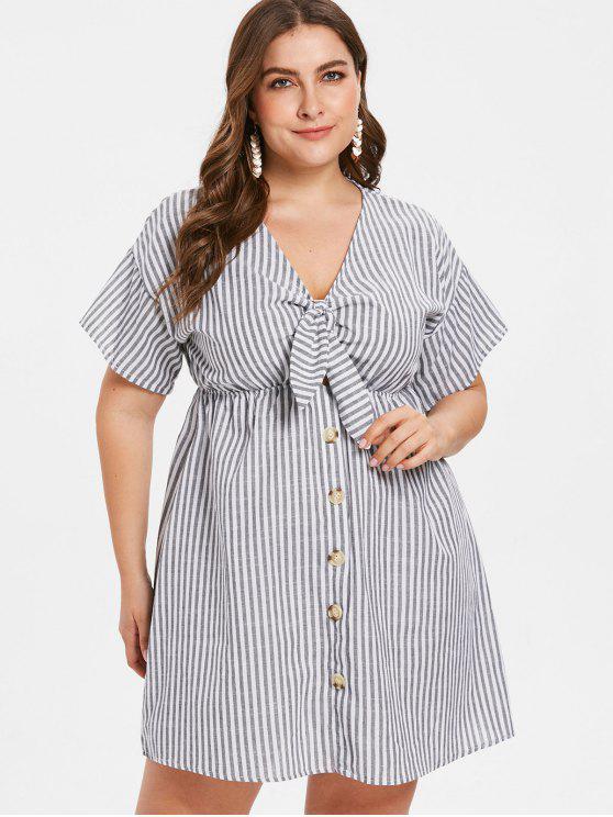 New 2018 Plus Size Striped Tied Drop Shoulder Dress In Gray 4x Zaful