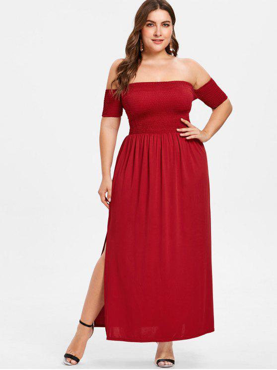 Off Shoulder Plus Size Smocked Slit Dress RED WINE
