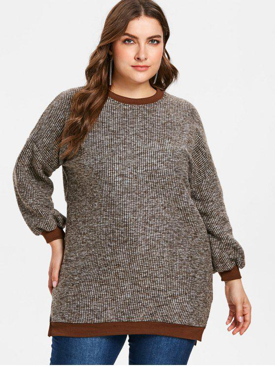 ladies Plus Size Slit Tweed Tunic Sweatshirt - MULTI 2X
