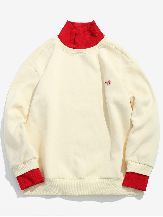 trendy Contrast Ribbed Edge Fleece Sweatshirt - WHITE M