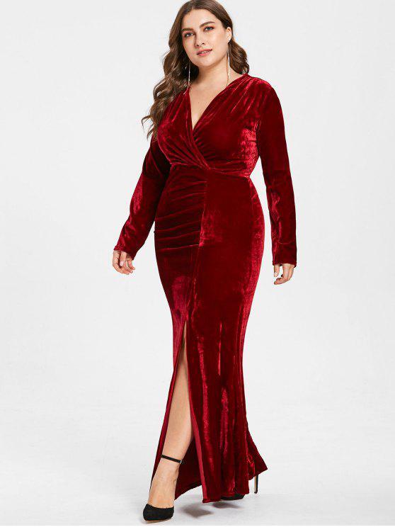 fashion Plus Size Plunge Velvet Slit Dress - RED WINE 2X