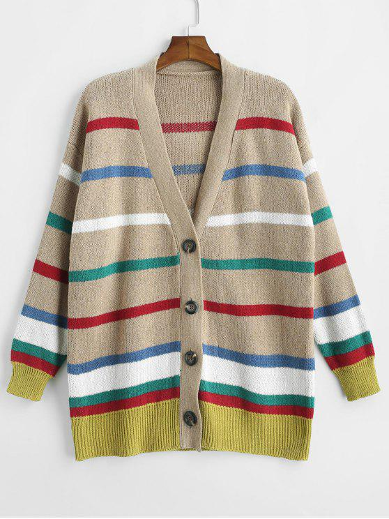 buy V Neck Colorful Striped Cardigan - MULTI ONE SIZE