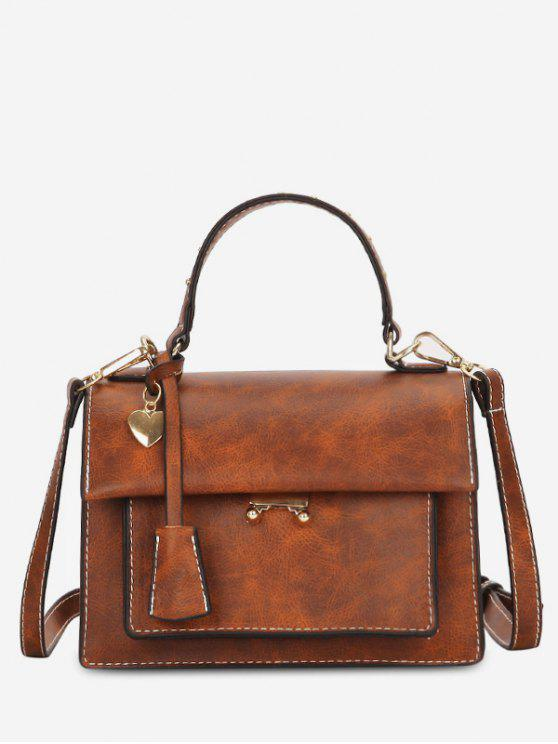 fancy Minimalist Heart Shape Solid Handbag - BROWN