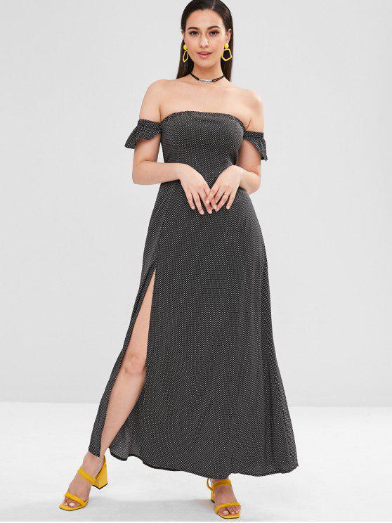 trendy ZAFUL Dotted High Slit Off Shoulder Dress - BLACK L