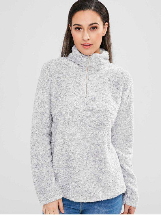 affordable Half Zip Faux Fur Sweatshirt - LIGHT GRAY L