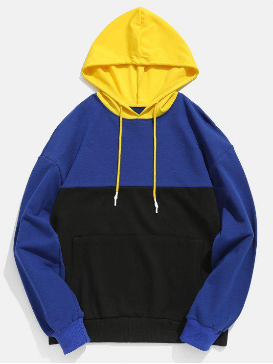 chic Contract Color Kangaroo Pocket Hoodie - NAVY BLUE XL