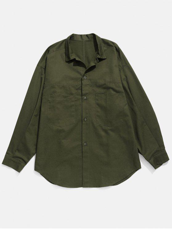 fancy Drop-shoulder Sleeve Button Fly Shirt - ARMY GREEN XL