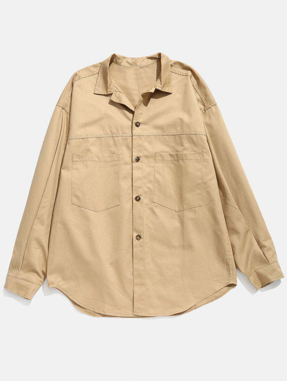 online Drop-shoulder Sleeve Button Fly Shirt - VANILLA M