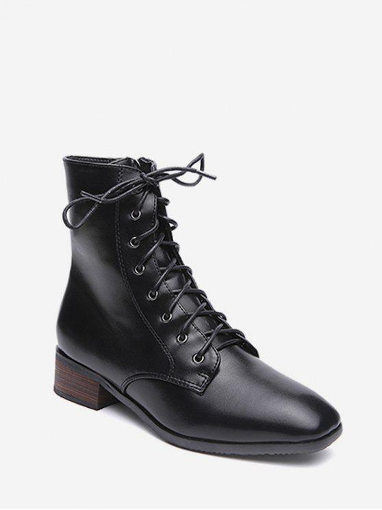 online Lacing Low Chunky Heel Ankle Boots - BLACK EU 39