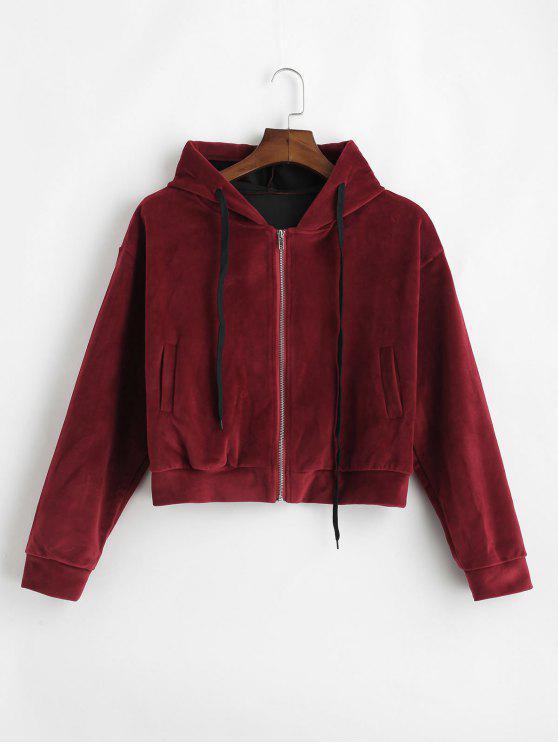 shop Side Pockets Velvet Zip Up Hoodie - RED WINE L