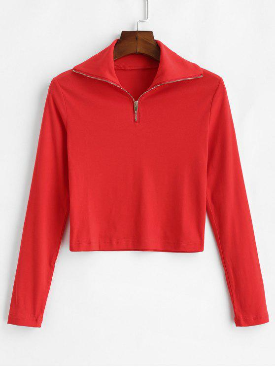 ladies Zipped Cropped Tee - RED M