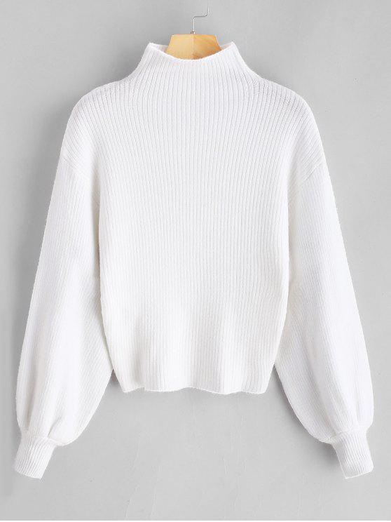 new Lantern Sleeve Mock Neck Plain Sweater - WHITE ONE SIZE