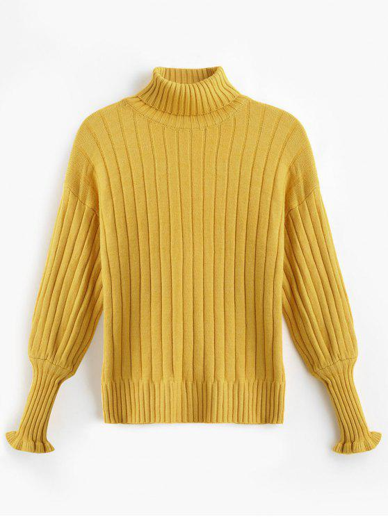 shops Turtleneck Drop Shoulder Frill Sweater - SUN YELLOW ONE SIZE