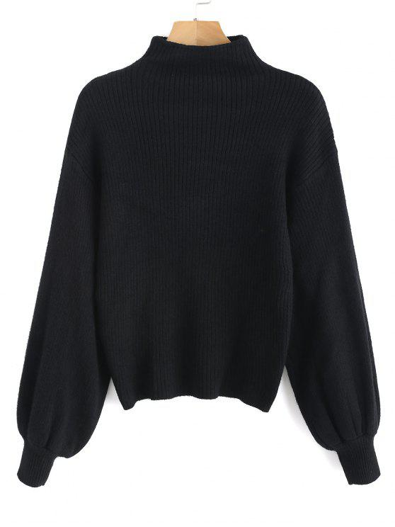 chic Lantern Sleeve Mock Neck Plain Sweater - BLACK ONE SIZE