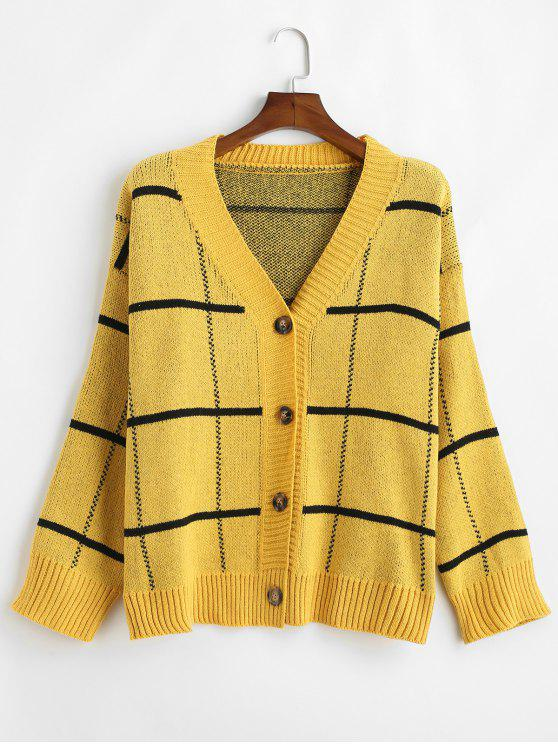 buy Windowpane Checker Oversized Cardigan - YELLOW ONE SIZE