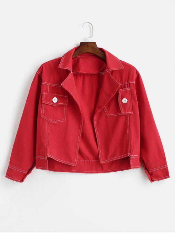 women's Contrasting Topstitching Denim Jacket - RED ONE SIZE