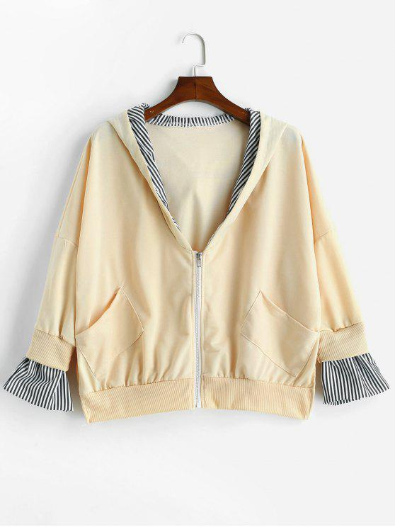 latest Side Slit Hooded Oversized Jacket - BLANCHED ALMOND L