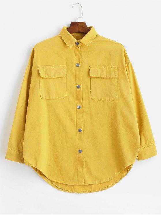 outfits Oversized Shacket Denim Jacket - MUSTARD S