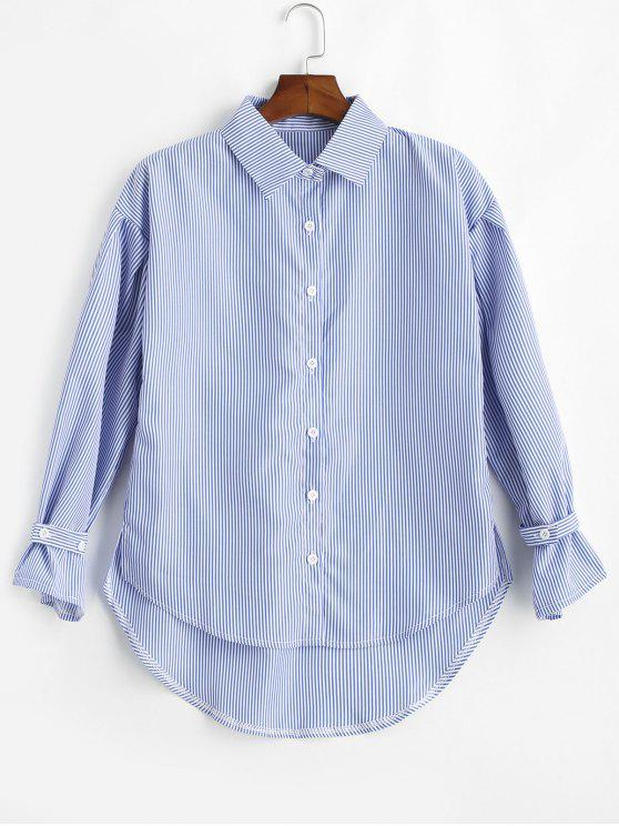 shop Slit High Low Striped Shirt - BLUE ONE SIZE