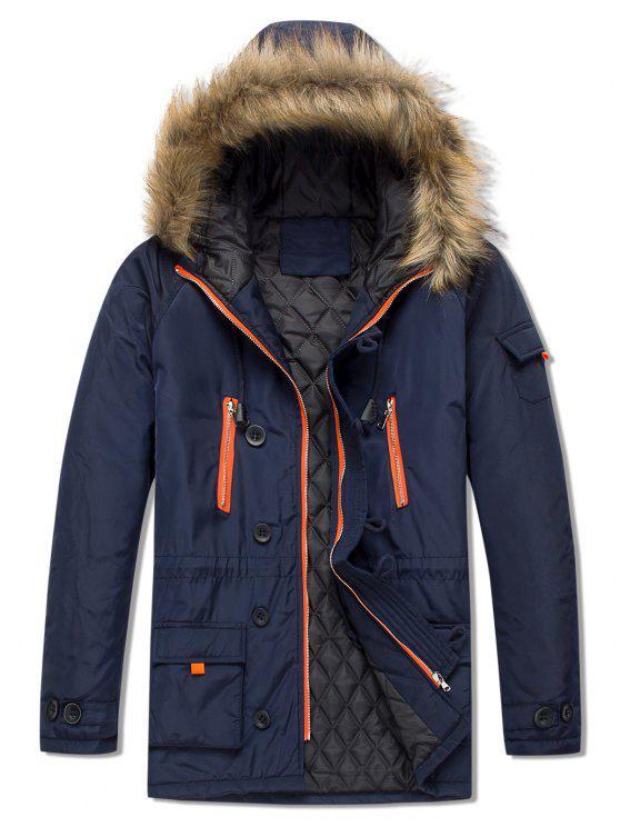chic Pockets Casual Zipper Parka Coat - CADETBLUE S