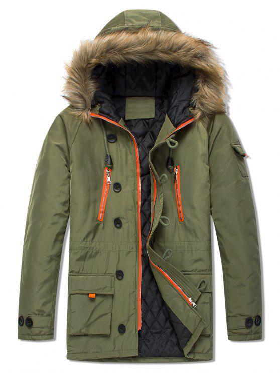 shops Pockets Casual Zipper Parka Coat - ARMY GREEN L