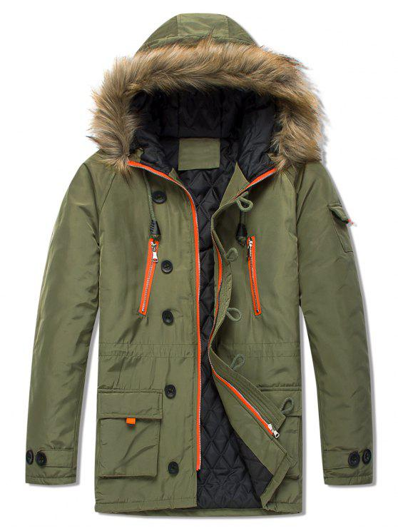 trendy Pockets Casual Zipper Parka Coat - ARMY GREEN S