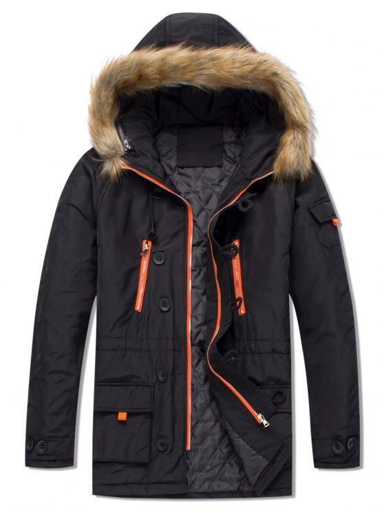 chic Pockets Casual Zipper Parka Coat - BLACK XS
