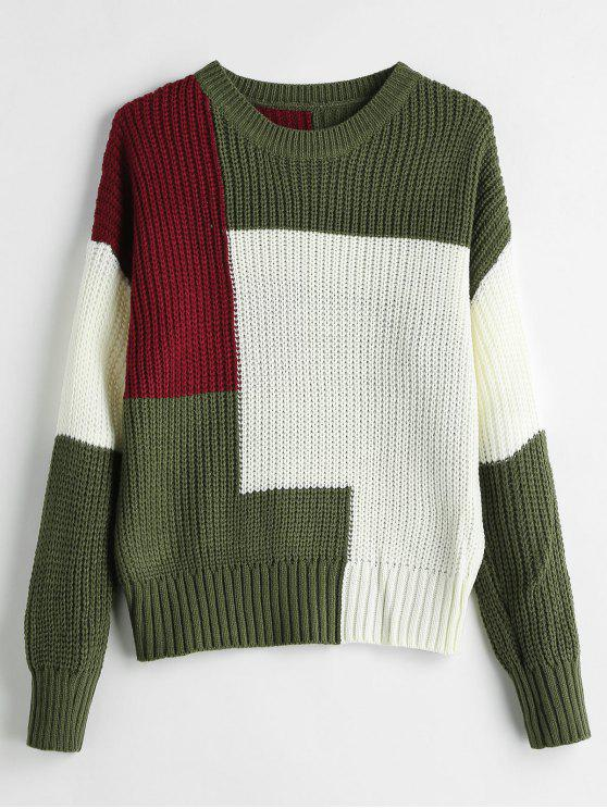 chic Tricolor Color Block Jumper - MULTI ONE SIZE
