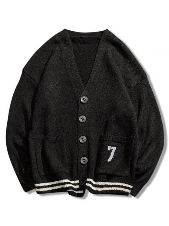 Stripe Bottom Number Loose Cardigan - Preto 3XL