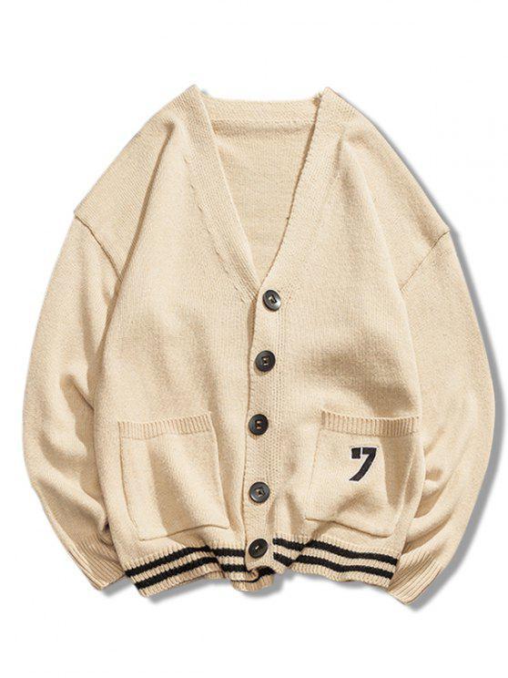 fashion Stripe Bottom Number Loose Cardigan - CORNSILK M