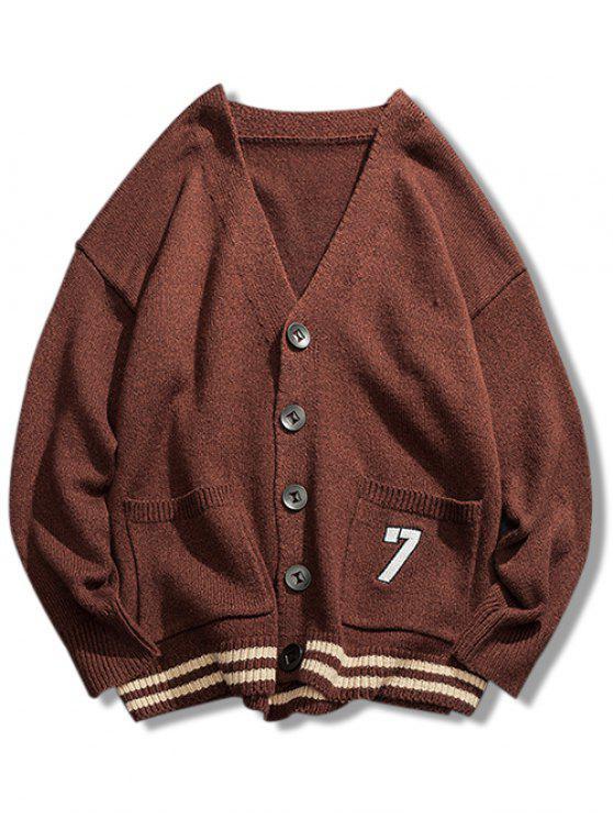 fashion Stripe Bottom Number Loose Cardigan - COFFEE 3XL