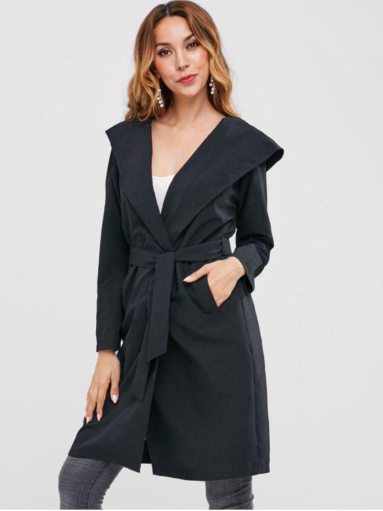 best Knee Length Hooded Wrap Coat - BLACK S