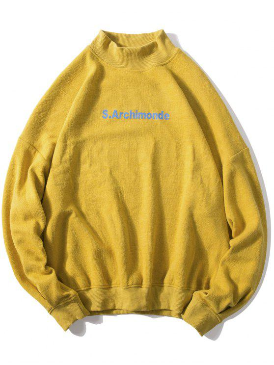 sale Loose Letter Pullover Casual Sweatshirt - BRIGHT YELLOW 2XL