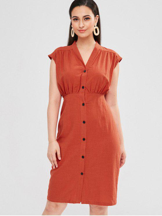best ZAFUL Button Up Sleeveless Casual Dress - CHESTNUT RED S
