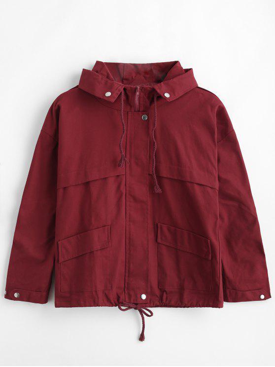 best Hooded Drop Shoulder Zipper Jacket - RED WINE M