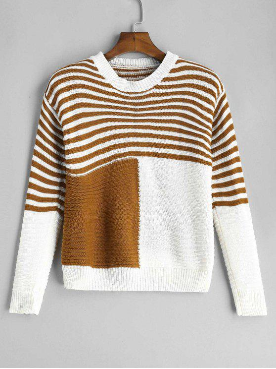 best Striped Textured Two Tone Sweater - MULTI ONE SIZE