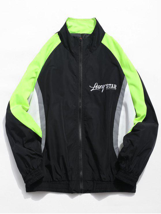 affordable Color Block Letter Casual Jacket - BLACK XL