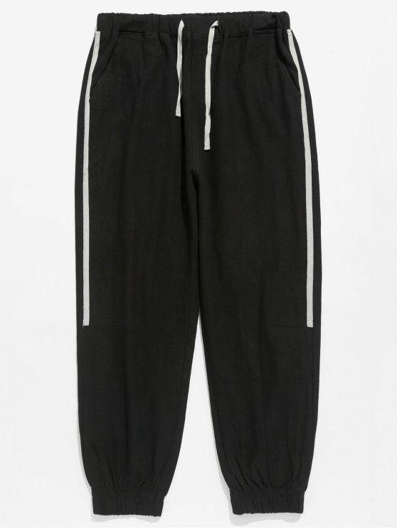 Pantaloni Da Jogging A Righe Laterali Con Tasca - Nero XL