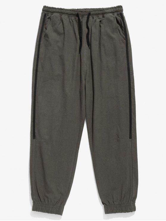 Pantaloni Da Jogging A Righe Laterali Con Tasca - Grigio Scuro XL