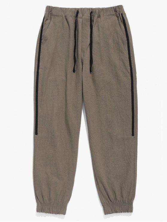 Pantaloni Da Jogging A Righe Laterali Con Tasca - Khaki scuro XL