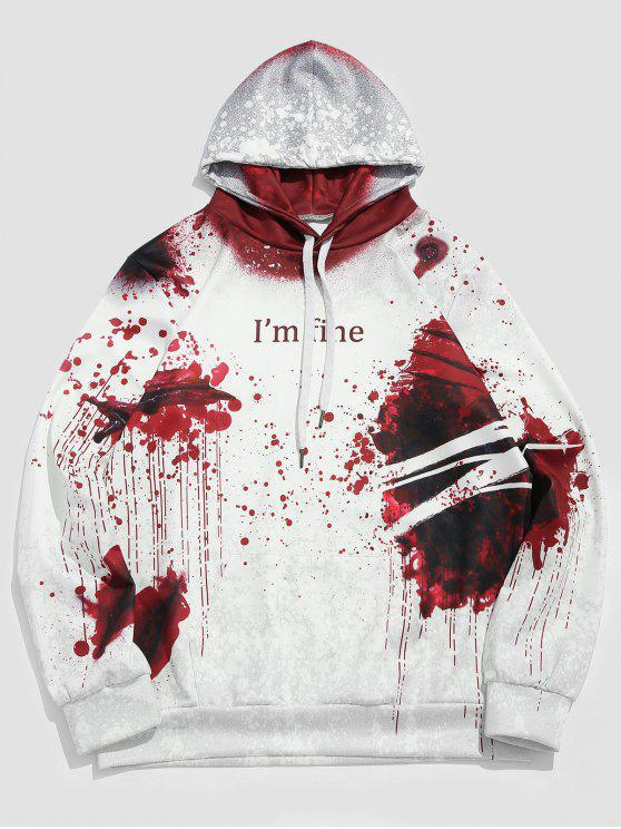 sale Halloween Theme Letter Print Casual Hoodie - WHITE M