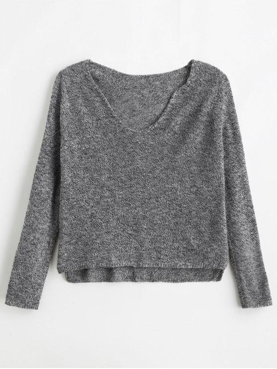 5407be83116a84 55% OFF] 2019 ZAFUL Mixed Yarn Boxy Fine Knit Sweater In GRAY ...