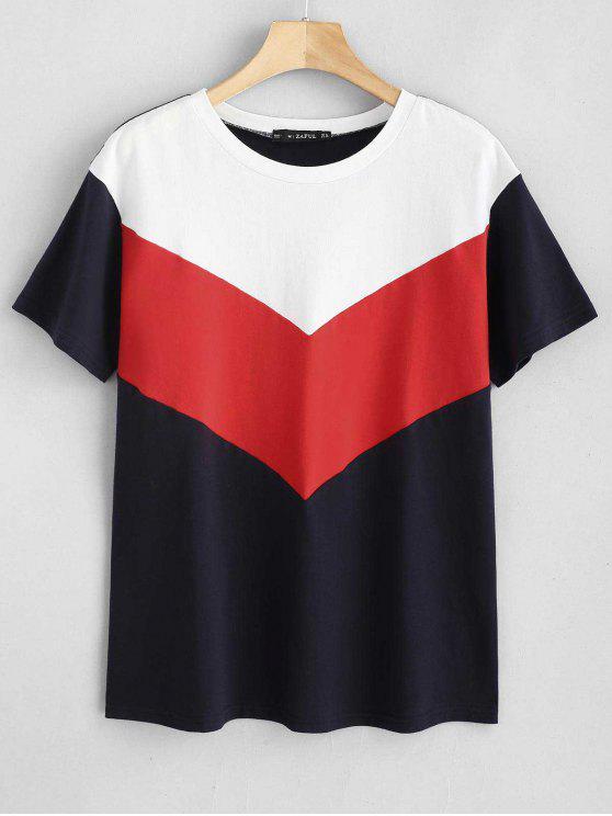 fashion ZAFUL Short Sleeve Color Block Tee - MULTI S