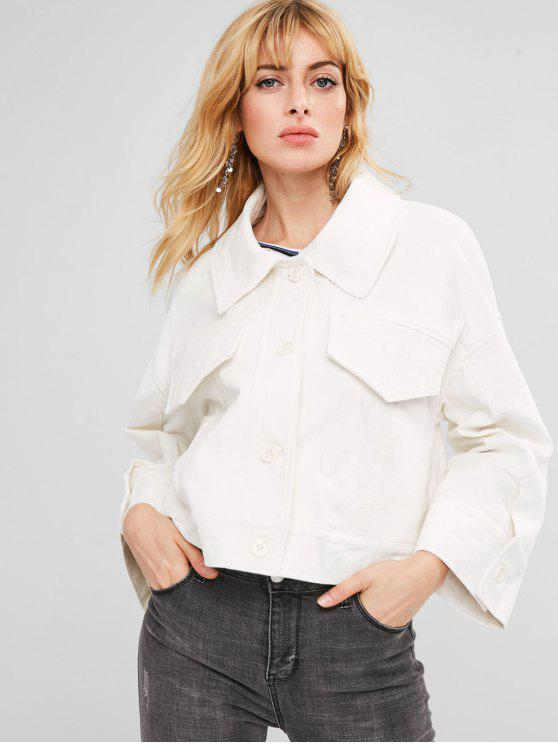 lady ZAFUL Boxy Corduroy Jacket - WHITE L