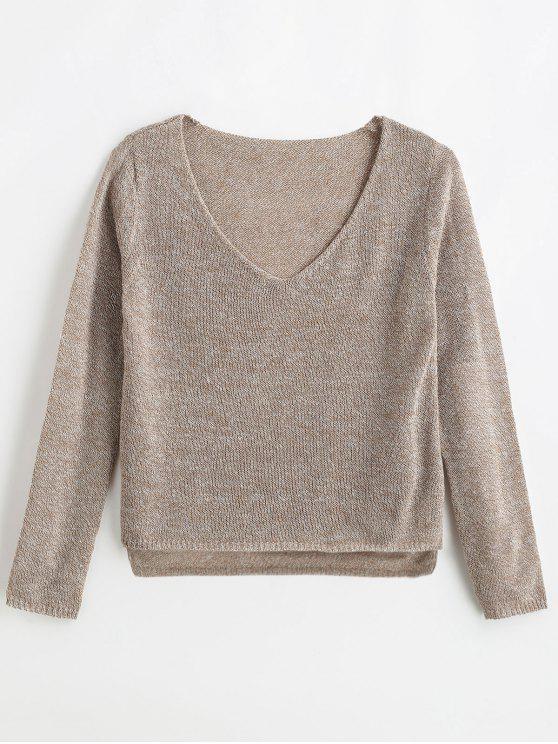 shop ZAFUL Mixed Yarn Boxy Fine Knit Sweater - LIGHT BROWN M