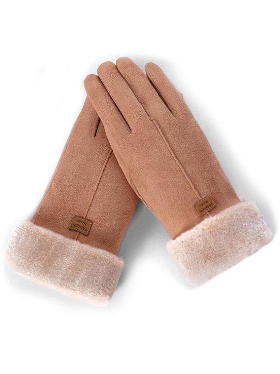 women's Letter Label Fuzzy Winter Gloves - KHAKI ROSE