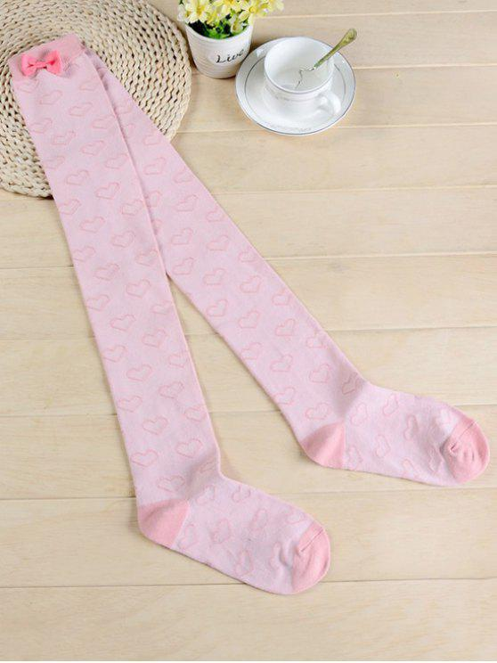 trendy Cute Bowknot Heart Thigh High Socks - PIG PINK
