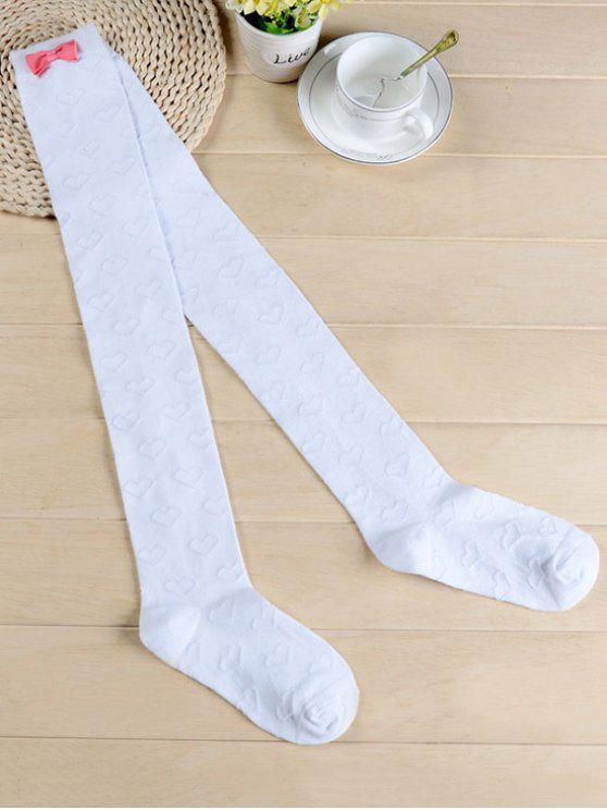 best Cute Bowknot Heart Thigh High Socks - WHITE