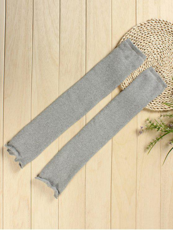 ladies Solid Color Knitted Leg Warmers - GRAY CLOUD